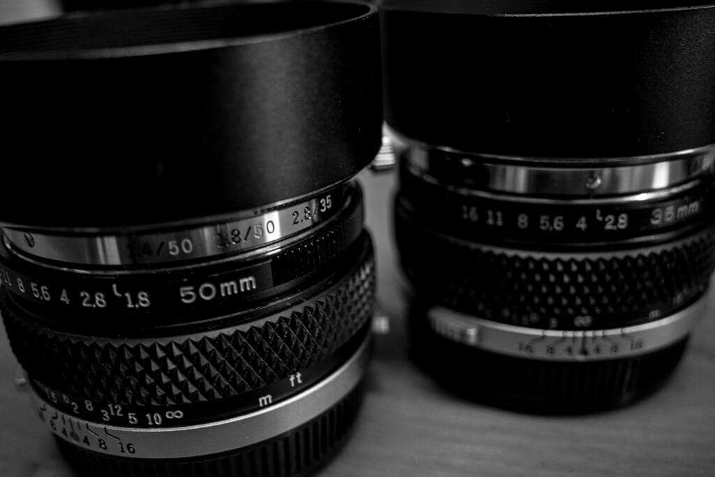 G.ZUIKO AUTO-W 35mm f/2.8, F.ZUIKO AUTO-S 50mm f/1.8